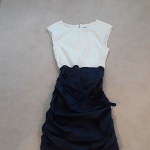Royal blue and off white  ruffle dress